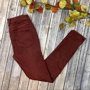 Free People Burgundy Red Skinny Jeans Mid Rise